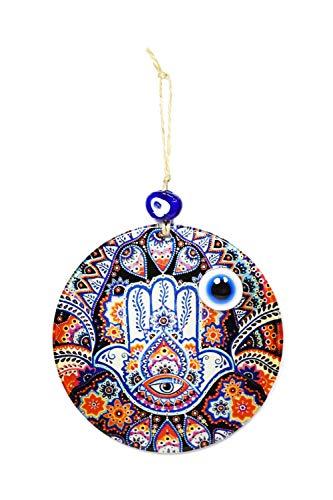 YSN Home Collection Wanddeko Wandschmuck Deko 'Fatimas Hand' Hamsa aus Glas - mit Blauem Auge Nazar Boncuk Talisman