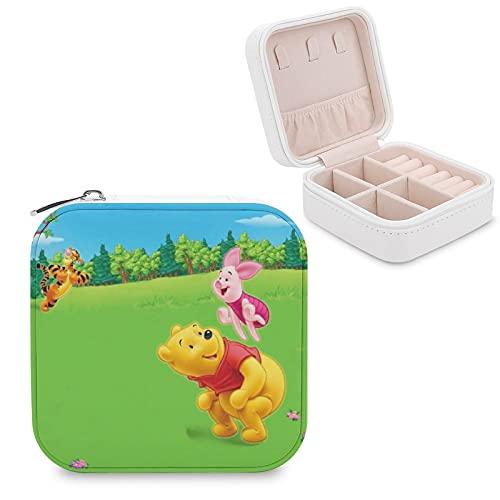 Winnie Pooh - Joyero de piel sintética para viajes, portátil, para collares, pendientes, pulseras, anillos, relojes, expositores, cajas de joyería para mujeres