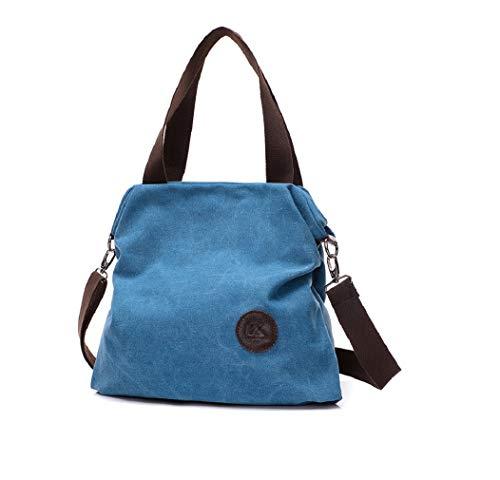 Bolso de hombro de lona casual para mujer, ideal para oficina, ocio, compras, al aire libre, 43 x 16 x 32 cm