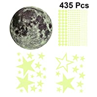 BESPORTBLE 明るい月の星の壁のステッカーは暗闇の中で壁のステッカーデカール取り外し可能な壁の壁画ステッカー子供部屋の寝室