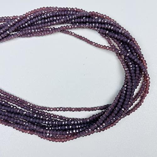 1 hebra de 1 mm y 2 mm, pequeñas cuentas de rondel de cristal facetado multicolor opaco para hacer joyas, cuentas espaciadoras de joyería de bricolaje, púrpura oscuro, 1x2 mm-170 piezas