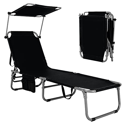 GYMAX Folding Chaise Longue, Adjustable Beach Chair with Canopy Sun Shade & Side Pockets, Heavy Duty Sunbathing Recliner Cot for Outdoor Patio Yard Poolside (1, Black)