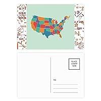 アメリカ マップ状態パターン 公式ポストカードセットサンクスカード郵送側20個