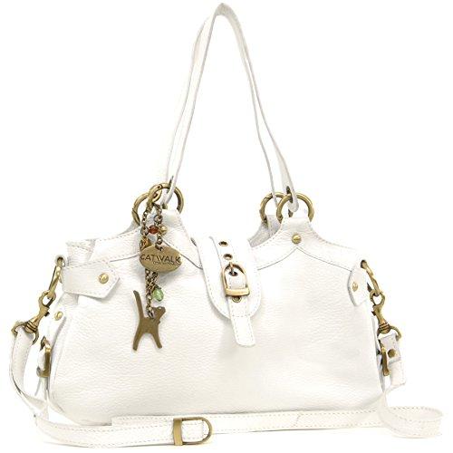 Catwalk Collection Handbags - Vera Pelle - Borsa a Tracolla/Borse a Mano/Spalla/Tracolla Regolabile e Rimovibile - Con Ciondolo a Forma di Gatto - Nicole - BIANCO