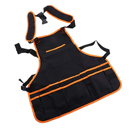 Générique Baoblaze Tablier de Travail en Tissu Oxford Multifonctionnel avec Poches pour Homme Femme - Noir + Orange, 59x59cm