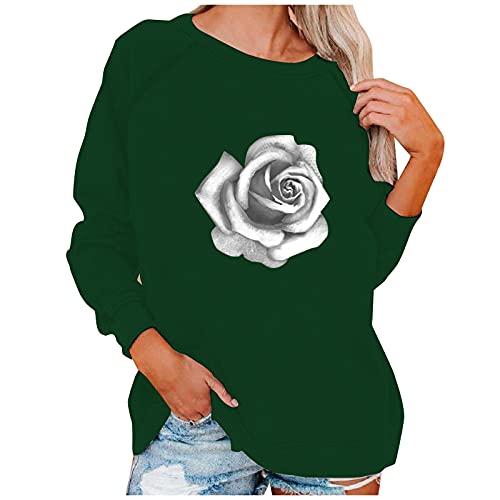 NAQUSHA Sudadera de manga larga para mujer, diseño de flores, para otoño, invierno, para el tiempo libre, Halloween, cuello redondo, cómodo, básico, jersey, verde, XXL