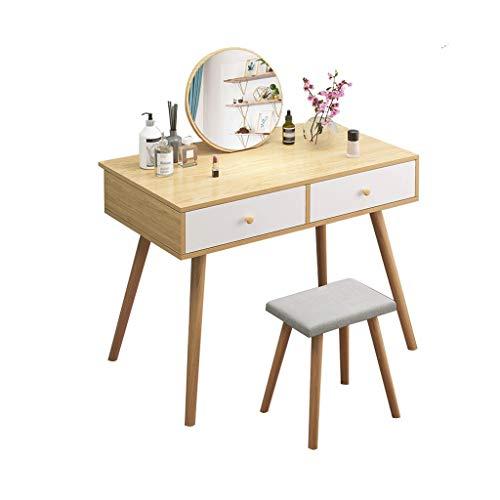 Dressing Tafels Met Spiegel En Kruk Eiken Eenvoudige Stijl Pastorale Vanity Tafel Noordse Slaapkamer Dressing Tafel HAODAMAI