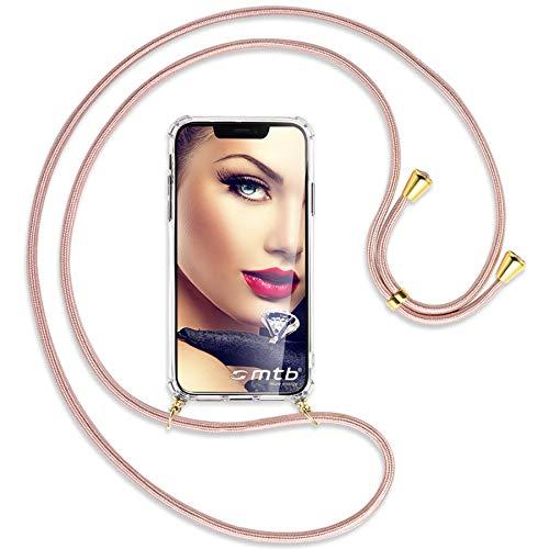 mtb more energy Collar Smartphone para Motorola Moto G5S Plus, G5S+ (5.5'') - Oro Rosa/Oro - Funda Protectora ponible - Carcasa Anti Shock con Cuerda Correa