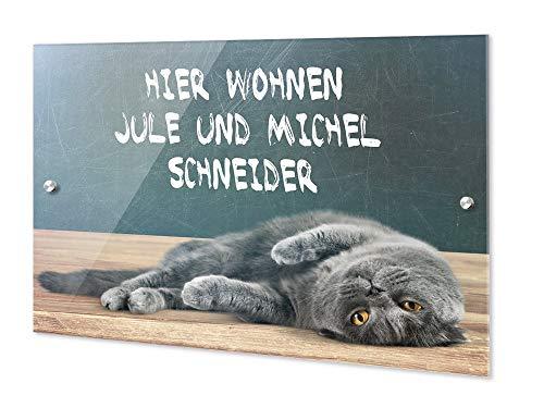 GRAZDesign Personalisierte Türschilder Familie & Tiere, Namensschild Haustür Hier wohnen, Haustürschild Motiv mit Katze / 21x15cm