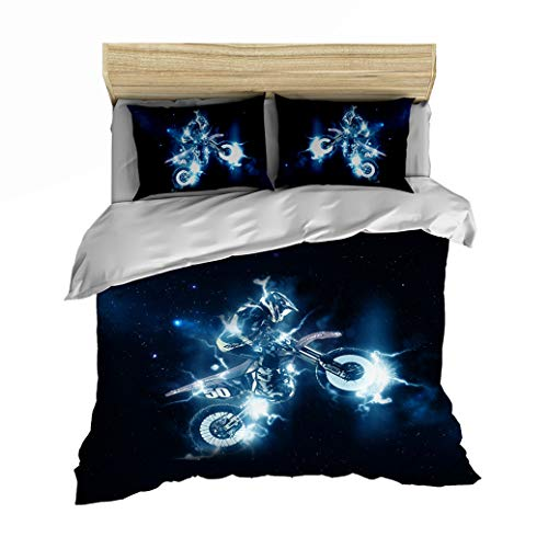 Sticker Superb Children's Bedding Set 3D White Black Motorcycle Racing Design, Single Duvet Cover Cool Flame Lightning, Luxurious Boy Polyester Quilt Cover + Pillowcase (Moto #2, Single 135x200 cm)