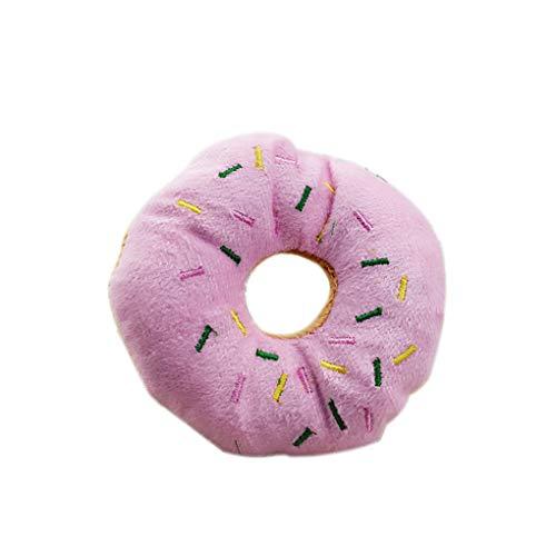 Lorsoul Pet Donut Shape Jouer en Peluche Jouets pour Animaux Chew Toy grincent Chien Chat Son Jeu d'outils - Rose