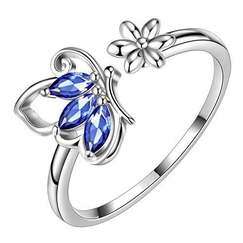 AuroraTears Schmetterling verstellbare Ringe 925 Sterling Silber Juni Birthstone Blue Alexandrite Eröffnung Ring Tiere Schmuck Geschenk für Frauen und Mädchen DR0077U
