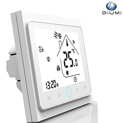 Qiumi Termostato Wifi, controlador de temperatura, aire acondicionado inteligente, controlador de temperatura programable, con pantalla LCD de 2 tubos, funciona con Alexa Página principal de Google