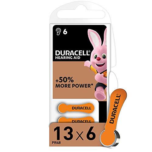 Duracell 13 Batterie per Apparecchi Acustici con Easy Tab, 6 Batterie, Arancio