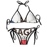 smartgood Conjuntos de Bikini para Mujer Traje de baño con Bandera Checa de Praga Halter Push Up Ropa de Playa Traje de baño Triángulo Trajes de baño Negro