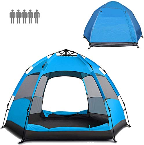 Jinfusi Automatic Waterproof 3-5 Person Outdoor Camping Tent,Large Family Dome Camp Tent (Blue)