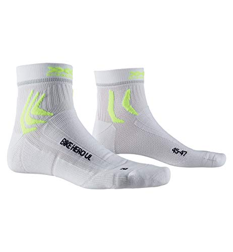 X-SOCKS Bike Hero Ultra Light Chaussette Mixte Adulte, Arctic White/Python Yellow, FR : L (Taille Fabricant : 42-44)