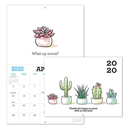 Gag Gifts - 2020 Calendar for Funny White Elephant Gag Gift Exchange, Large 11' x 17' When Open, Joke Present with Beautiful Photos of Cactus for Adults, Sturdy Paper