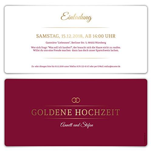 30 x Goldene Hochzeit Einladungskarten Goldhochzeit Einladungen 50 Jahre - Burgunder Gold