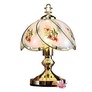 Find a treasured spot for this lovely lamp Both the hummingbird motif and lamp design reflect a delicate and rare beauty Sweeping, arched glass panels are accented with gold trim on the shade Touch control offers a choice of 3 light settings| Perfect...