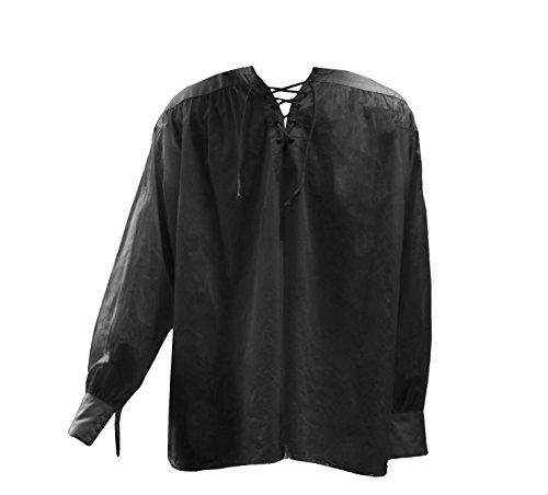 Schwarz (Black Men's Poet Shirt) LARP Herren-Dichterhemd, Gr 3 XL - 4 XL