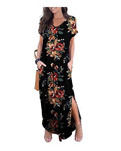 KIDSFORM kvinnor maxiklänning blommig sida delad lediga lösa fickor solkräm kortärmad sommar strand t-shirt klänning