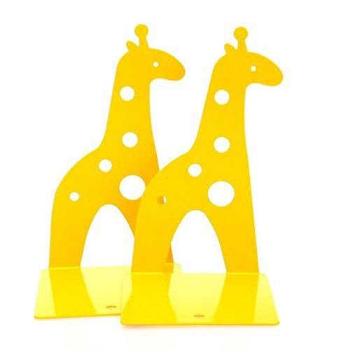 Rbenxia 1 Paar gelbe niedliche rutschfeste Giraffen-Buchstützen, Bücherregal-Organizer, Kunst-Geschenk für Kinder, Studenten, Leser, für den Schreibtisch