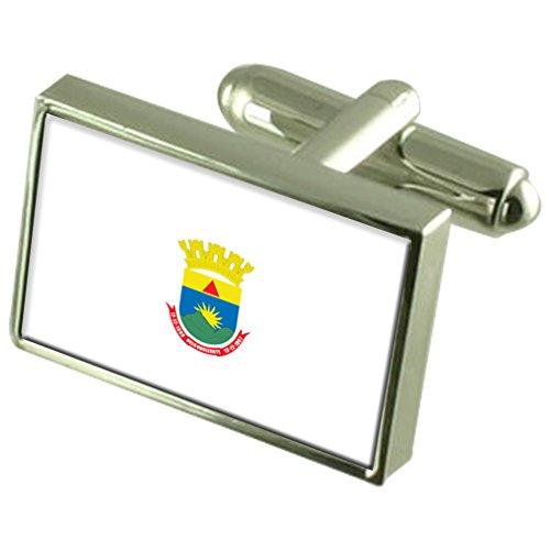 Select Gifts Belo Horizonte città di Minas Gerais membro Sterling Silver bandiera gemelli incisi Box