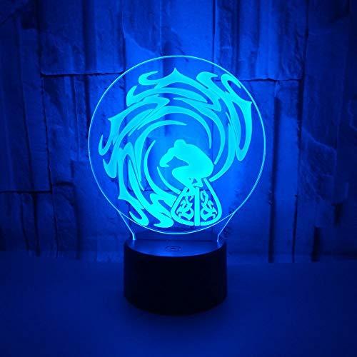 Beliebte kreative 3D Nachttischlampe Kinder Geschenk Rolling Wave Skifahren 3D LED Nachttisch Moderne Schreibtisch Tischlampe Surfen Visuelle Tischlampe
