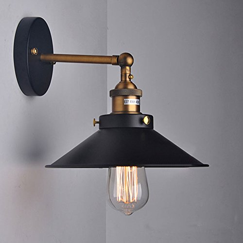 Cozyle Rame Industrial Metal Vintage lampada da parete paralume nero 22 centimetri