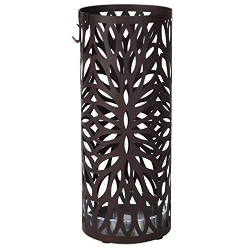 SONGMICS Umbrella Stand Long Short Umbrella Rack Free Standing Holder for Canes Walking Sticks, with Drip Tray 2 Hooks, Dark Brown ULUC21Z