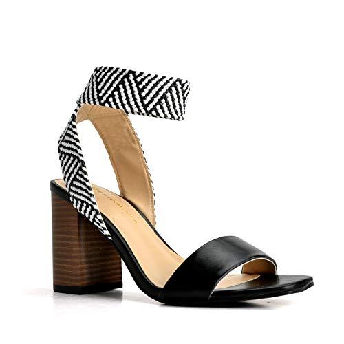 Shoe Republic LA Women's Square Toe Ankle Comfort Stretch Elastic Strap Chunky Block Heeled Dress Sandals Dalina Black Size 6