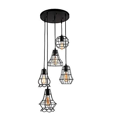 Industrial Multi Light Pendant Light -LITFAD Rustic Barn Metal Chandelier Max 240w with 6 Cage Lights Black Finish,Ceiling Lighting Fixture...