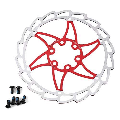 Dekaim Disco de Freno de Bicicleta, 160 mm, 6 Pernos, Bicicleta de montaña, Almohadilla de Disco de Freno, Accesorio de Ciclismo(Red)
