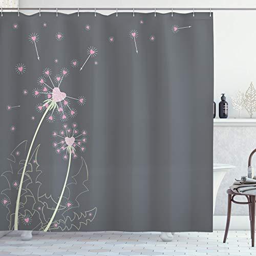 ABAKUHAUS Rosa & Grau Duschvorhang, Löwenzahn Blumen, mit 12 Ringe Set Wasserdicht Stielvoll Modern Farbfest & Schimmel Resistent, 175x180 cm, Hellgrün Grau Rosa