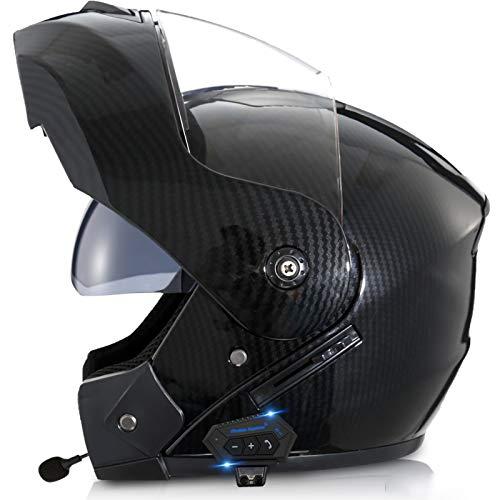 Bluetooth Integrado Casco,Abatible Casco Lente Doble Cuatro Estaciones Micrófono Incorporado Respuesta Automática Certificación ECE Apto para Motocicletas D,M56~57CM