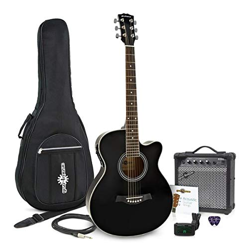 Pack avec Guitare Electro-Acoustique a Pan Coupe et Ampli 15 W par Gear4music Black