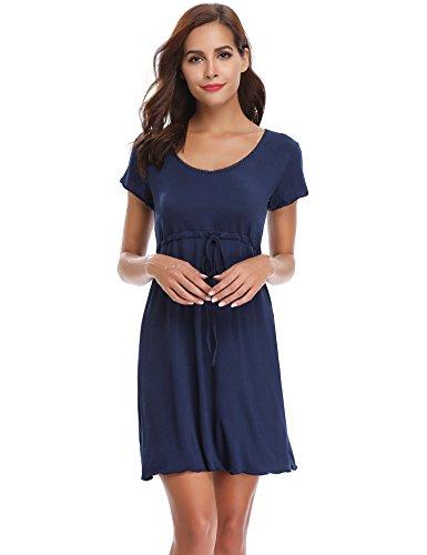 Aibrou Damen Sommer Modal Nachthemd Rundhals Nachtkleid Knielang Umstandskleid Stillnachthemd Hellblau XL