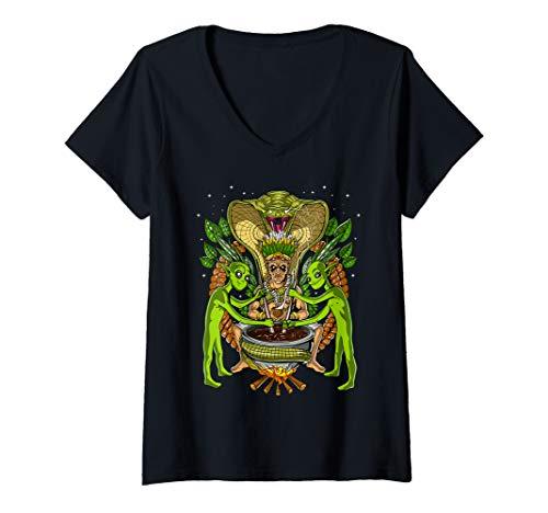 Damen Ayahuasca Aliens DMT Shaman Psychedelische UFO Trip T-Shirt mit V-Ausschnitt