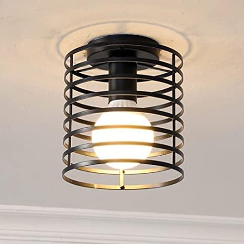 iDEGU - Lámpara de techo industrial con jaula colgante de metal de hierro para dormitorio, cocina, pasillo, negro (redondo)