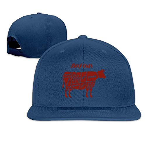 Lsjuee AdultHats, Fashion Beef Cortes Animal Silhouette Cow Ajustable Hip Hop Flat BilledHats