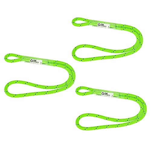 GM CLIMBING 12in 6mm Prusik Loop Pre-Sewn for Climbing Arborist Rescue Mountaineering General Outdoor Use (Green, Pack of 3)