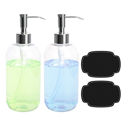 ULG Soap Dispensers Plastic Bottles Dishwashing Liquid Hand Soap Countertop Lotion Set Refillable Clear Press Bottle with Stainless Steel Pump For Shower Shampoo Cream Kitchen Bathroom 16oz 2 Pcs