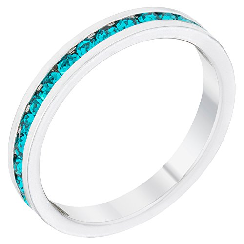 Stylish Birthstone Stackables Swarovski Crystal By Kate Bissett, Round Cut Turquoise Crystal in Channel Setting,10
