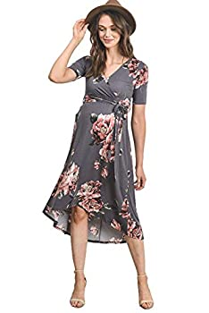 Women s Maternity Wrap Dress Midi Length with Waist Belt  Grey,M