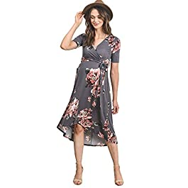 Hello MIZ Women's High-Low Surplice Wrap Maternity Dress with Waist Belt (L.