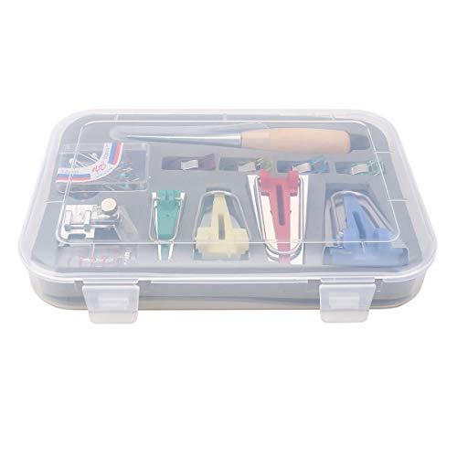 60Pcs Fabric Bias Binding Tape Maker Kit Binder-Werkzeug zum Nähen und Quilten + AWL, Bias Tape Maker Set, Quilting Tool