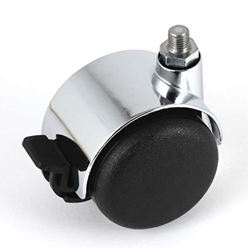 Möbelrollen gebremst Chrom 50 mm Gewindestift M8 für USM Haller Möbel ohne zusätzliche Bereifung für weiche Böden Weichbodenrolle mit Bremse Radfeststeller