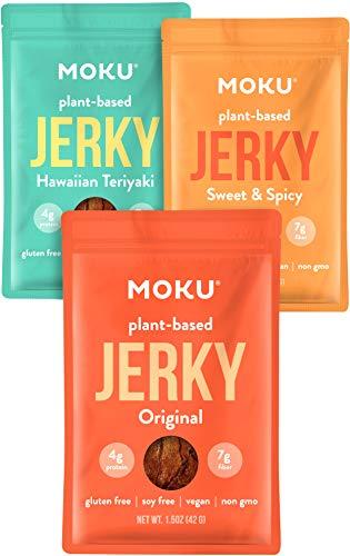 Moku Plant-Based Mushroom Jerky (3 Pack) Vegan Jerky, Gluten-Free, Soy-Free, Non-GMO Vegan Snacks, Vegan Meat No Artificial Sweetener Vegan Food, 1.5 oz ea - Variety