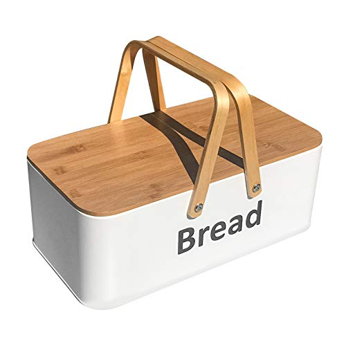 SOTECH Bread Box with Bread Bin Bamboo Lid and Bamboo Handle Modern Bread Box, Bread Storage, Bread Container for kitchen counter to Organizer Kitchen Decor, Vintage Kitchen Portable White